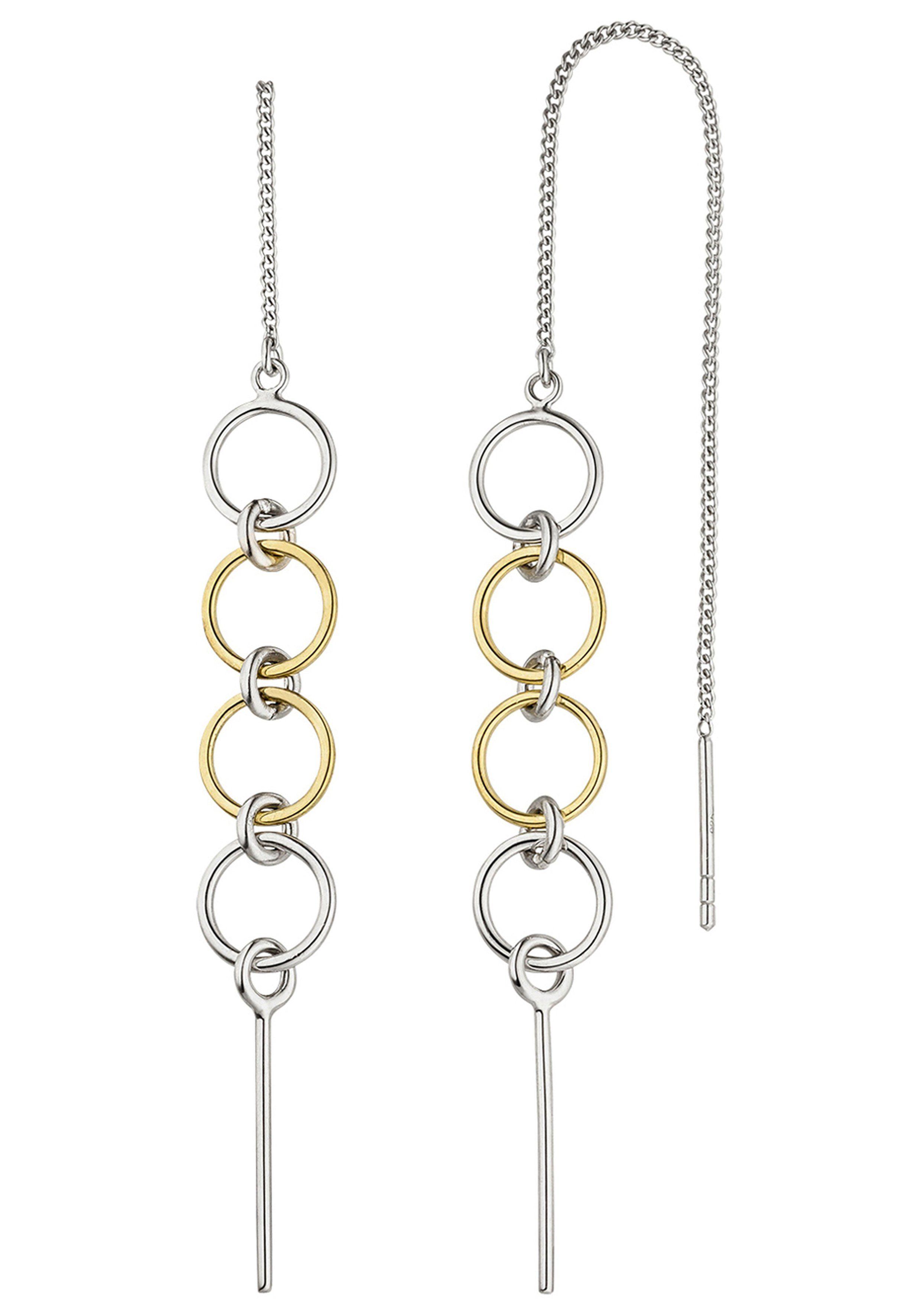 JOBO Paar Ohrhänger 925 Silber bicolor