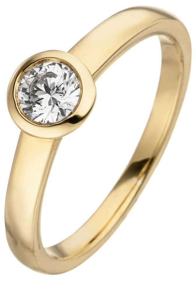 JOBO Solitärring 585 Gold mit 1 Diamant Brillant 0,25 ct. | Schmuck > Ringe > Solitär Ringe | Goldfarben | Si | JOBO