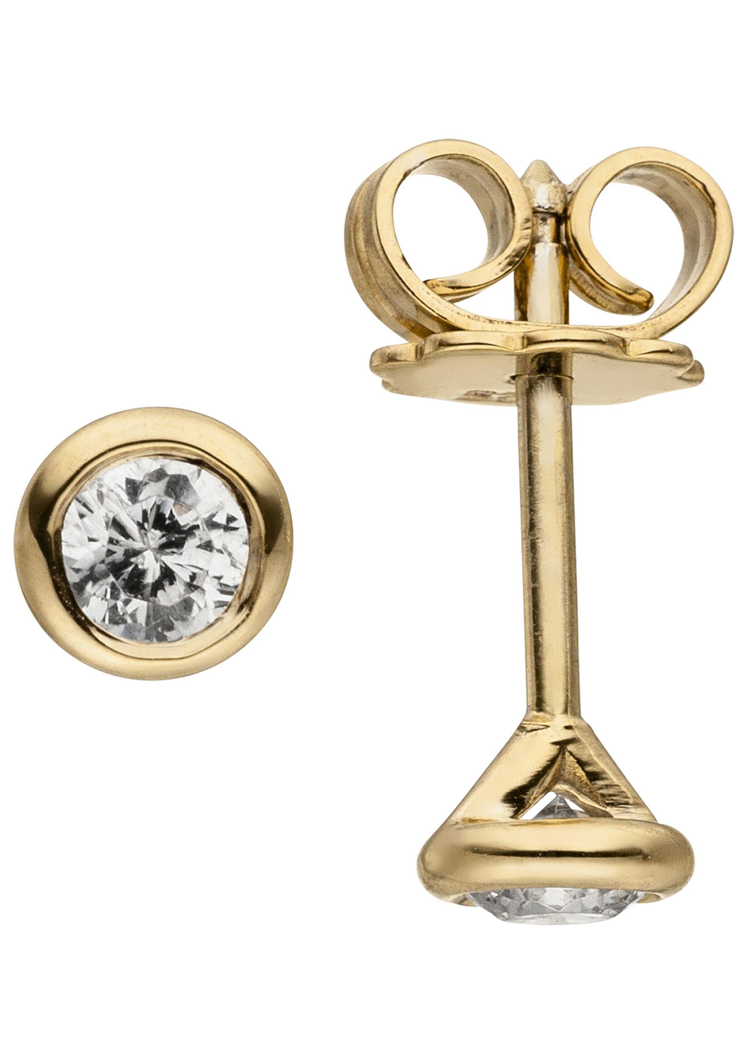 JOBO Paar Ohrstecker »Solitär« rund 585 Gold mit 2 Diamanten Brillanten 0,14 ct.