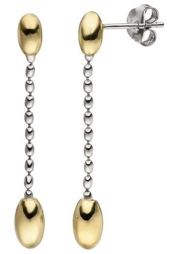 JOBO Paar Ohrhänger 925 Silber bicolor vergoldet