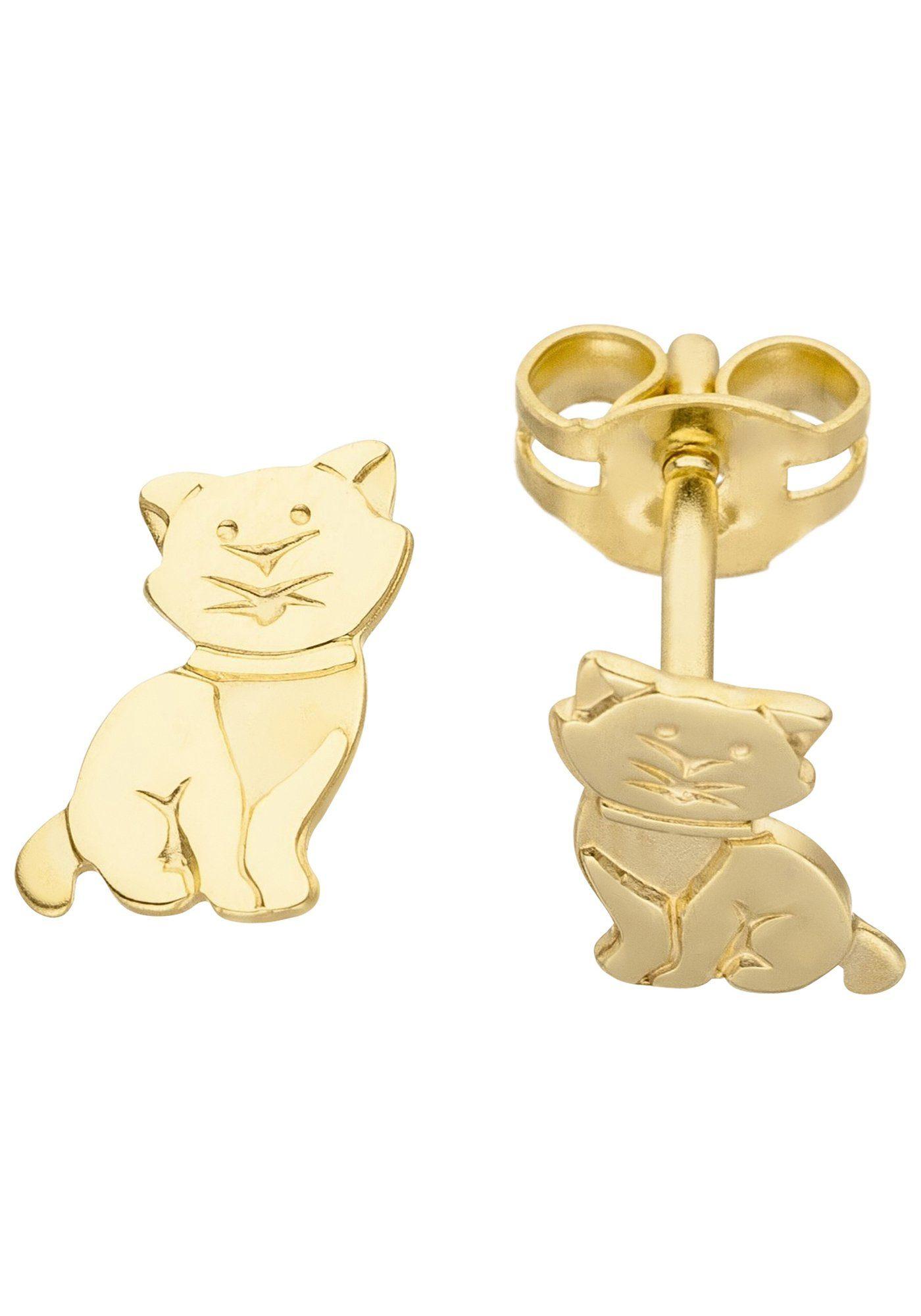 JOBO Paar Ohrstecker »Katze« 333 Gold