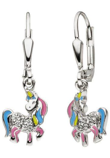JOBO Paar Ohrhänger »Einhorn«, 925 Silber mit 14 Zirkonia