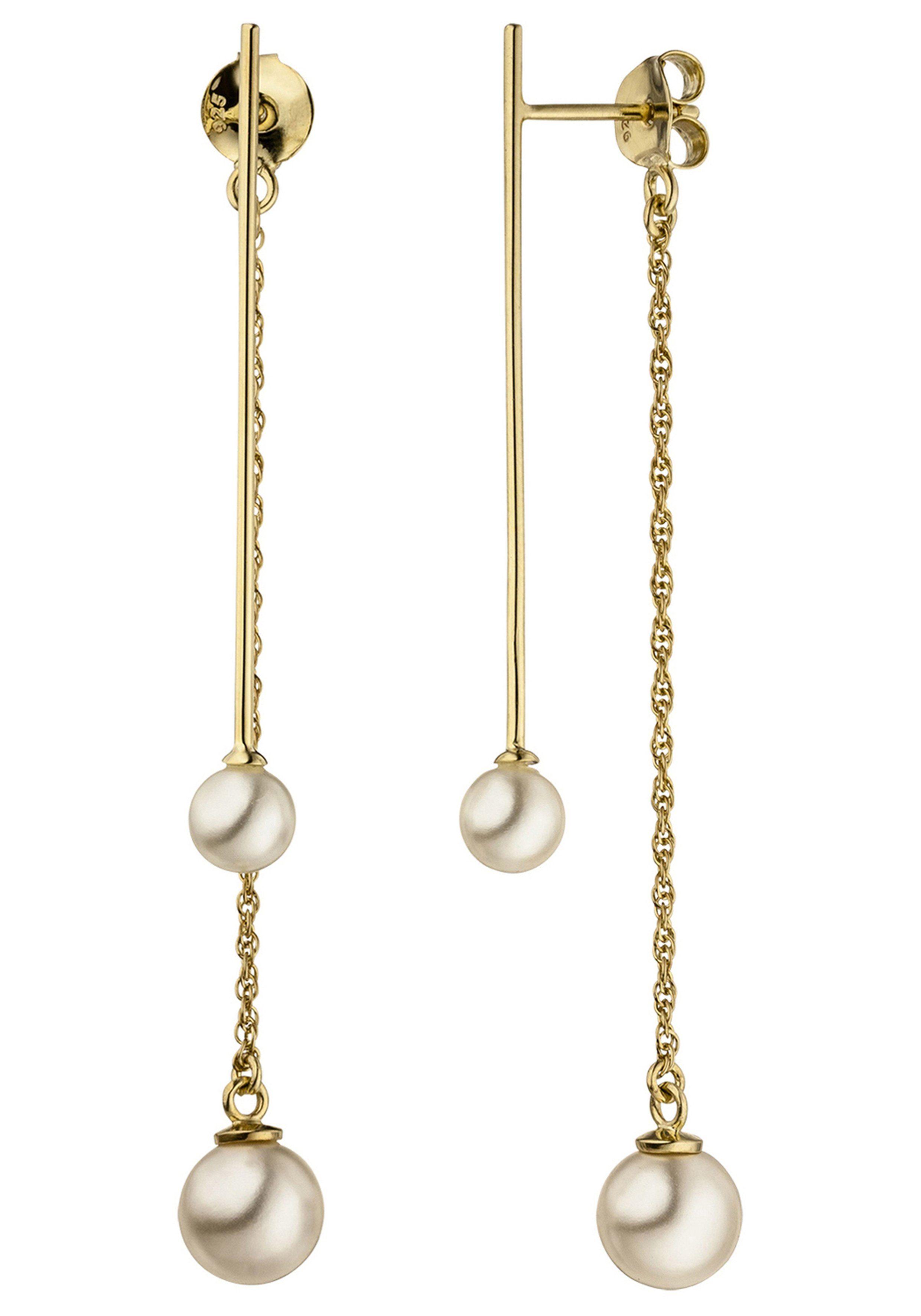 JOBO Perlenohrringe 925 Silber vergoldet mit 4 synthetischen Perlen