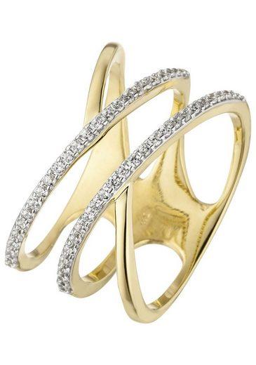 JOBO Goldring, breit mehrreihig 375 Gold mit 52 Zirkonia