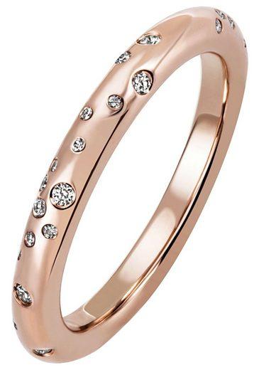 JOBO Diamantring, 585 Roségold mit 34 Diamanten