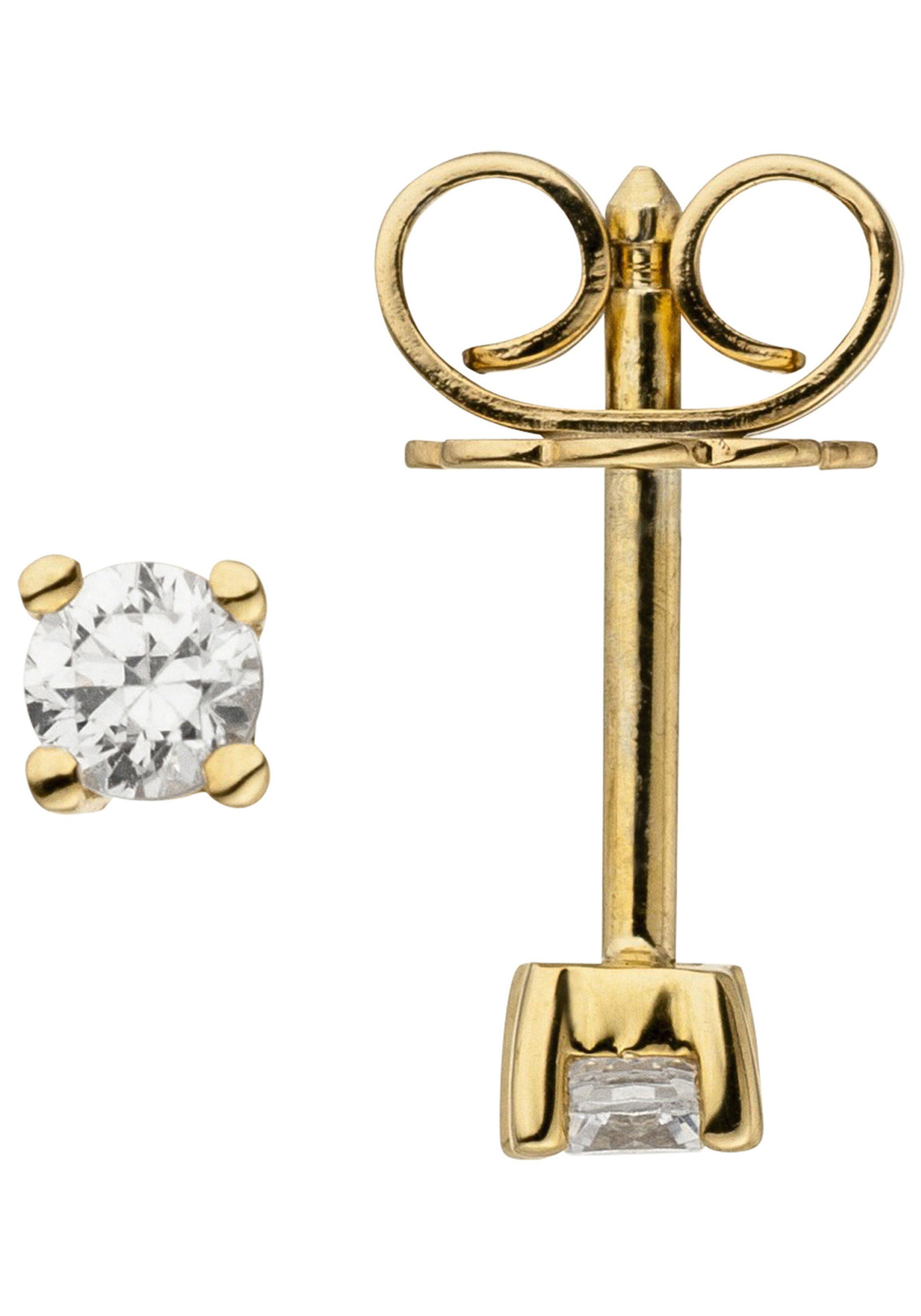 JOBO Paar Ohrstecker »Solitär« 585 Gold mit 2 Diamanten Brillanten 0,14 ct.