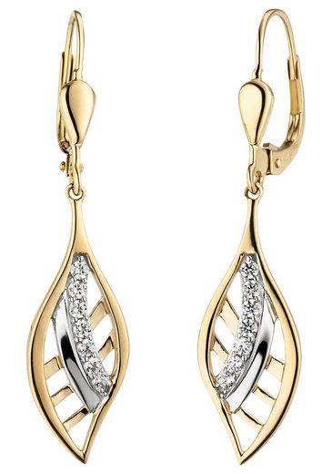 JOBO Paar Ohrhänger 375 Gold bicolor mit 14 Zirkonia
