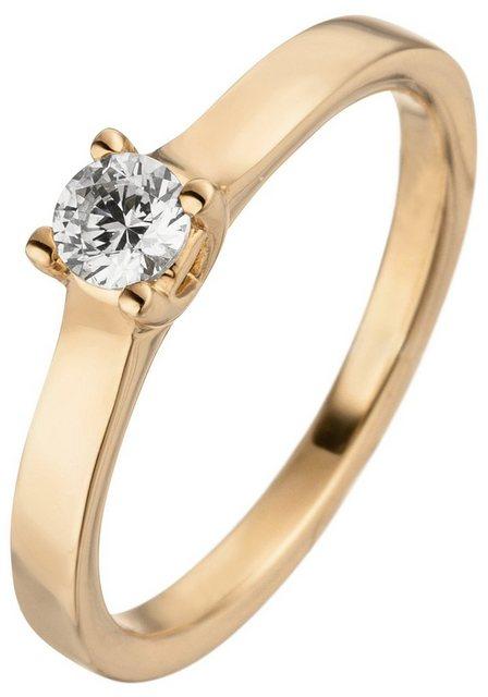 JOBO Solitärring, 585 Roségold mit Diamant Brillant 0,15 ct. | Schmuck > Ringe > Solitär Ringe | Jobo