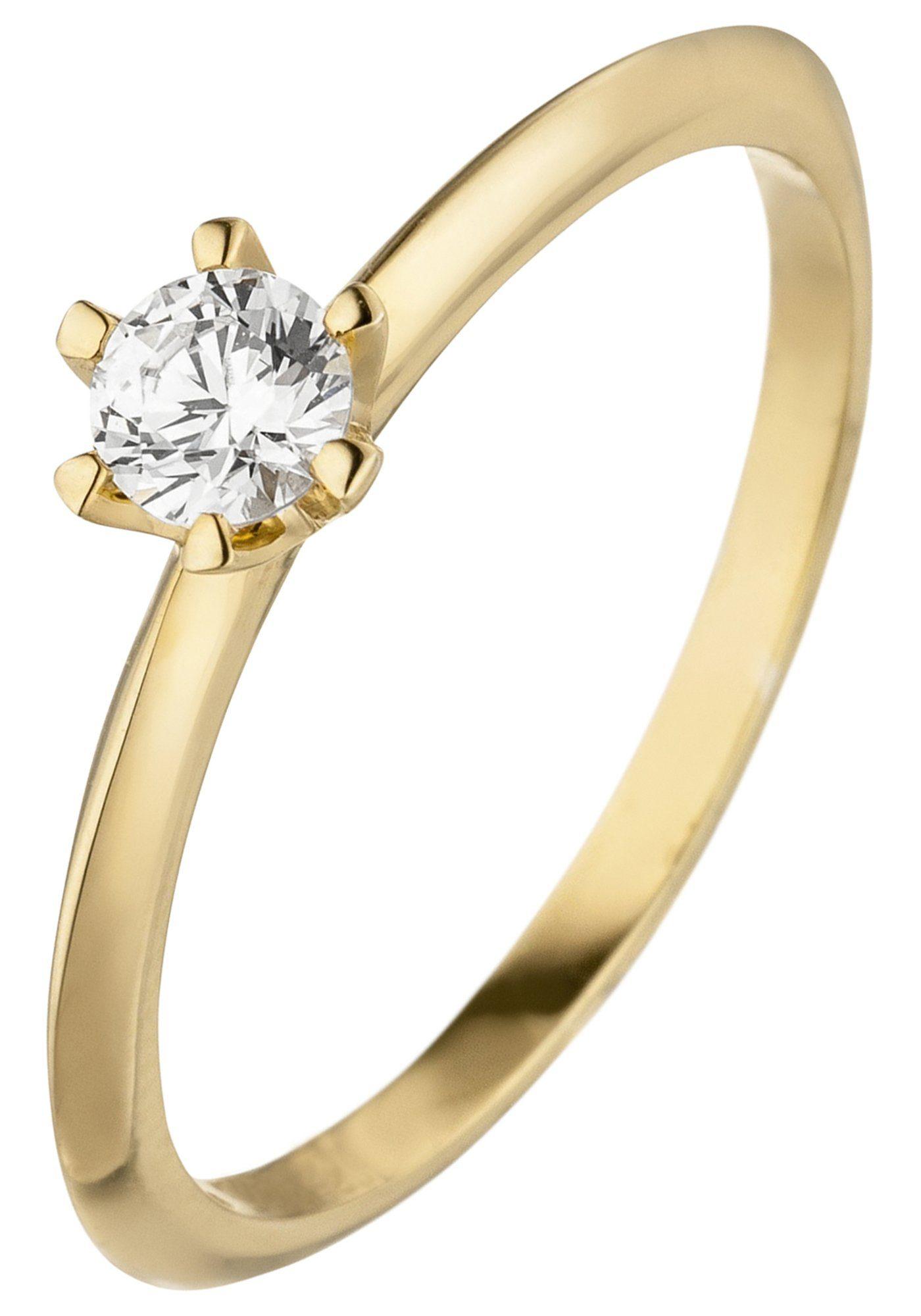 JOBO Solitärring 585 Gold mit 1 Diamant Brillant 0,15 ct.