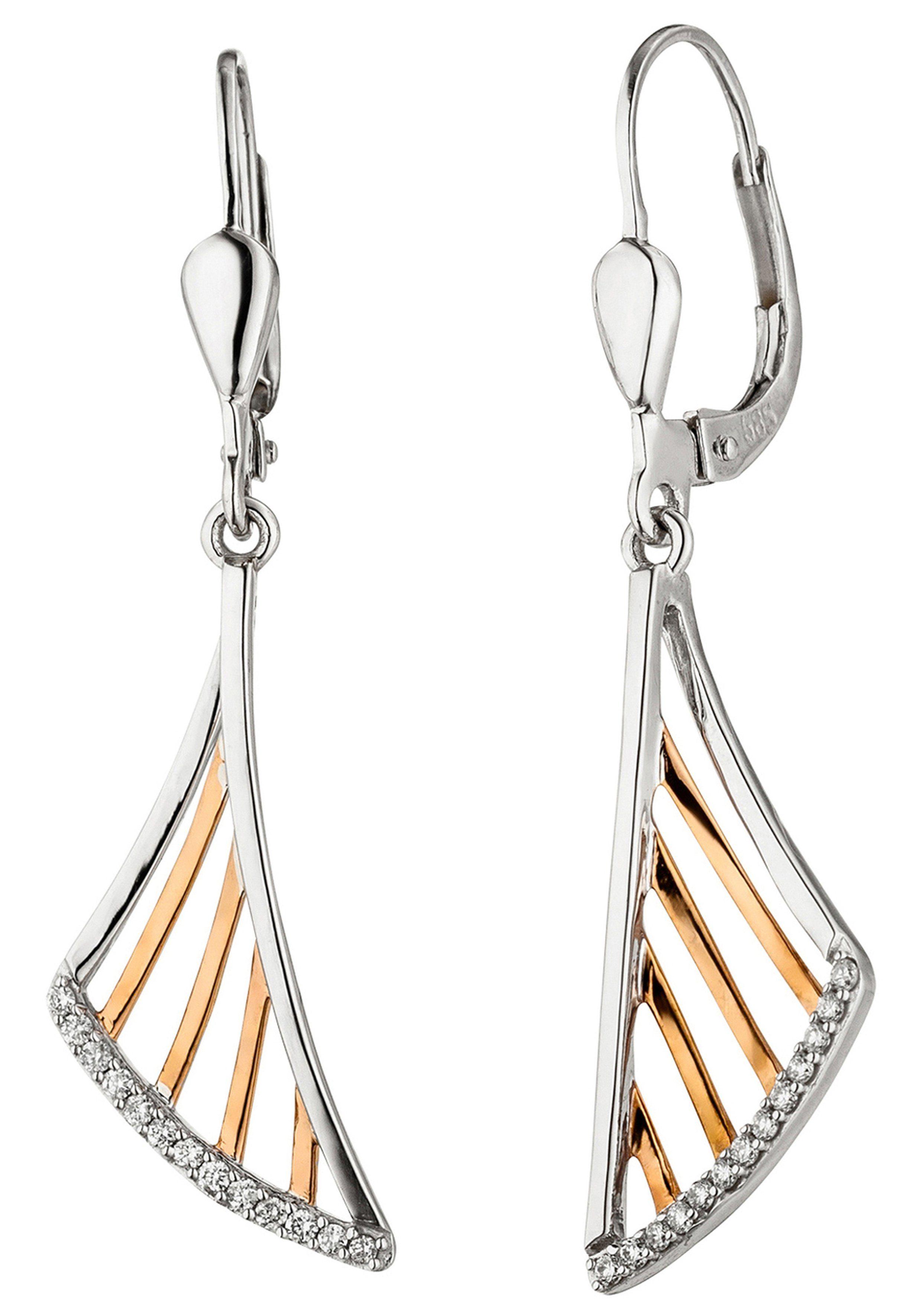 JOBO Paar Ohrhänger 585 Gold bicolor mit 26 Diamanten