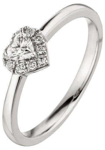 JOBO Diamantring »Herz«, 585 Weißgold mit 10 Diamanten