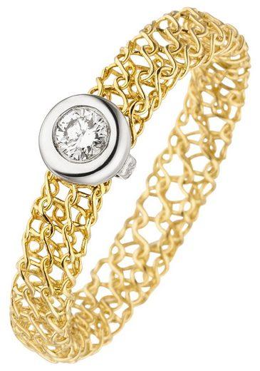 JOBO Diamantring geflochten 750 Gold mit 1 Diamant