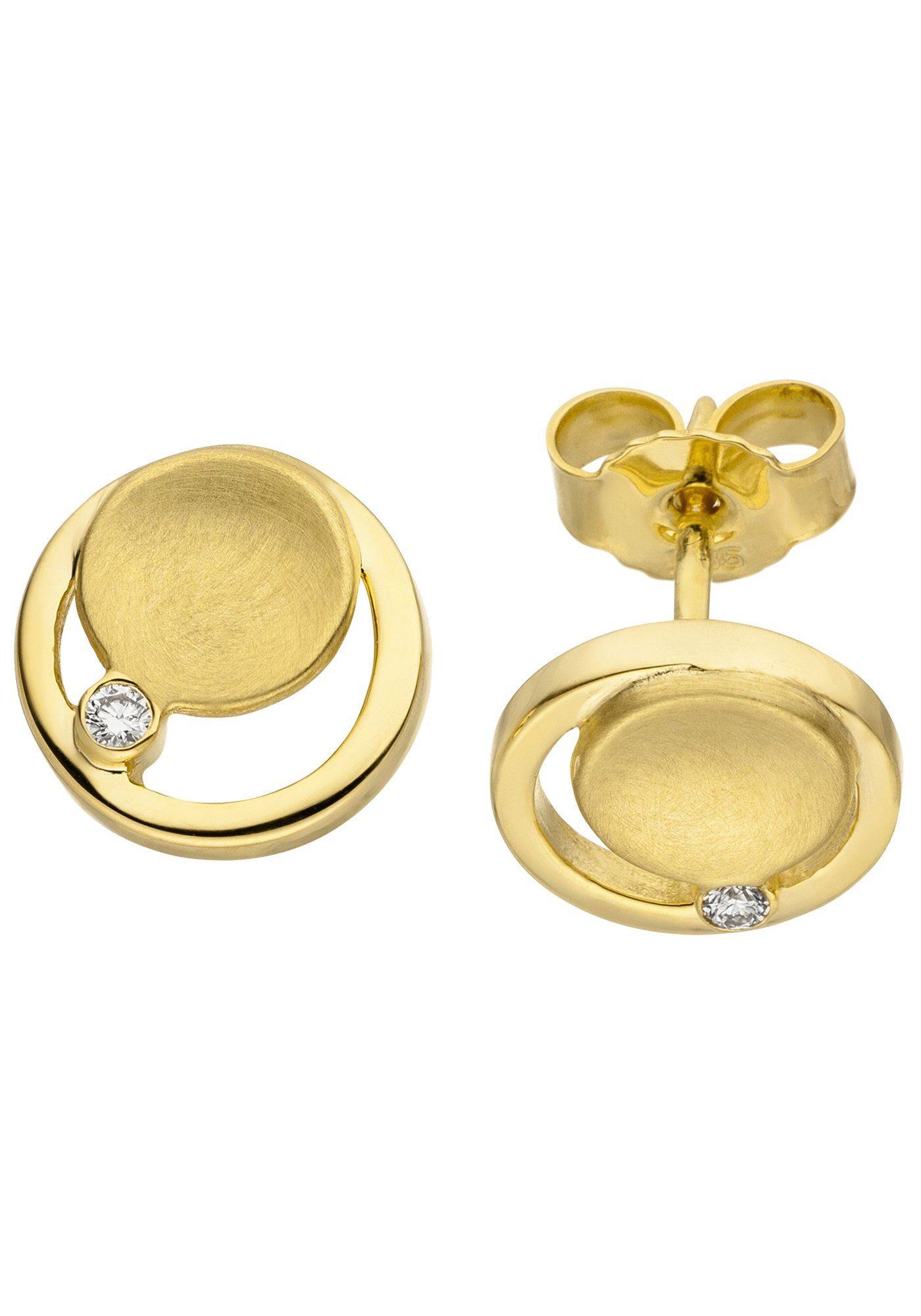 JOBO Paar Ohrstecker 585 Gold mit 2 Diamanten