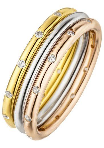 JOBO Silberring, 925 Silber tricolor dreifarbig vergoldet mit 24 Zirkonia