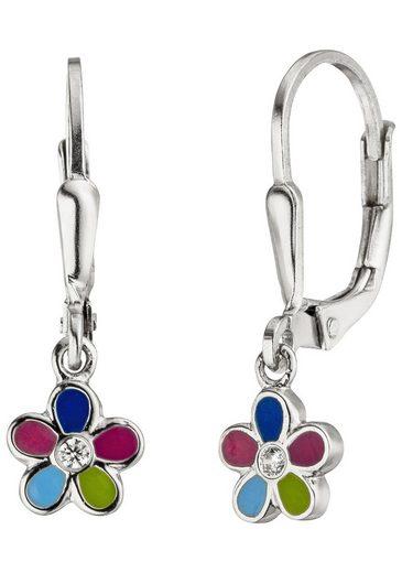 JOBO Paar Ohrhänger »Blume« 925 Silber mit 2 Zirkonia