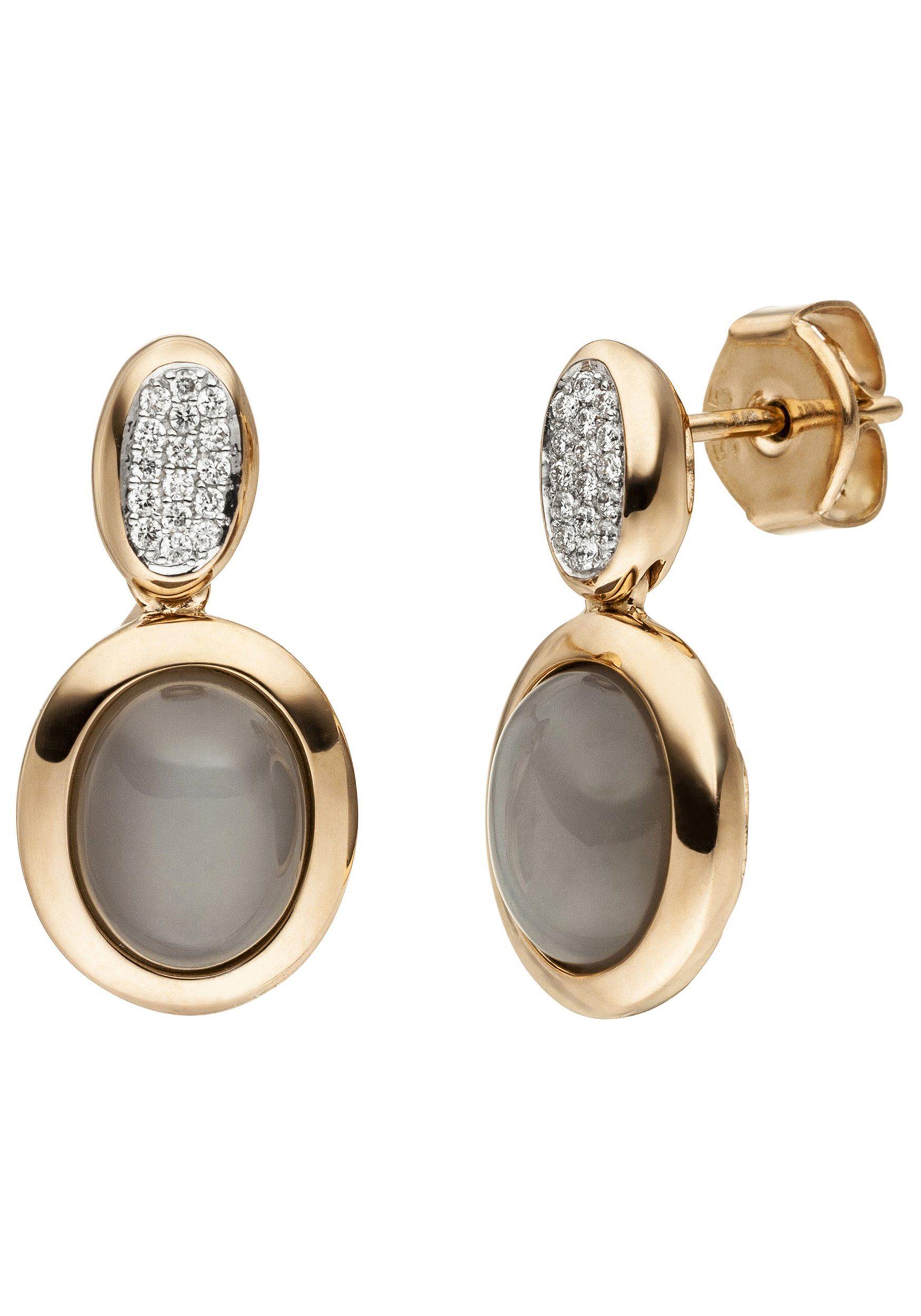 JOBO Paar Ohrstecker 585 Roségold mit 2 Mondstein Cabochons 32 Diamanten