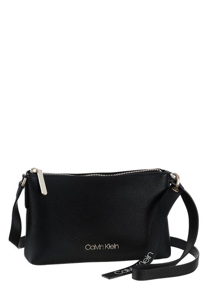 Damen Calvin Klein Umhängetasche NEAT  in schlichter Optik mit goldfarbenen Beschlägen schwarz   08719115060855