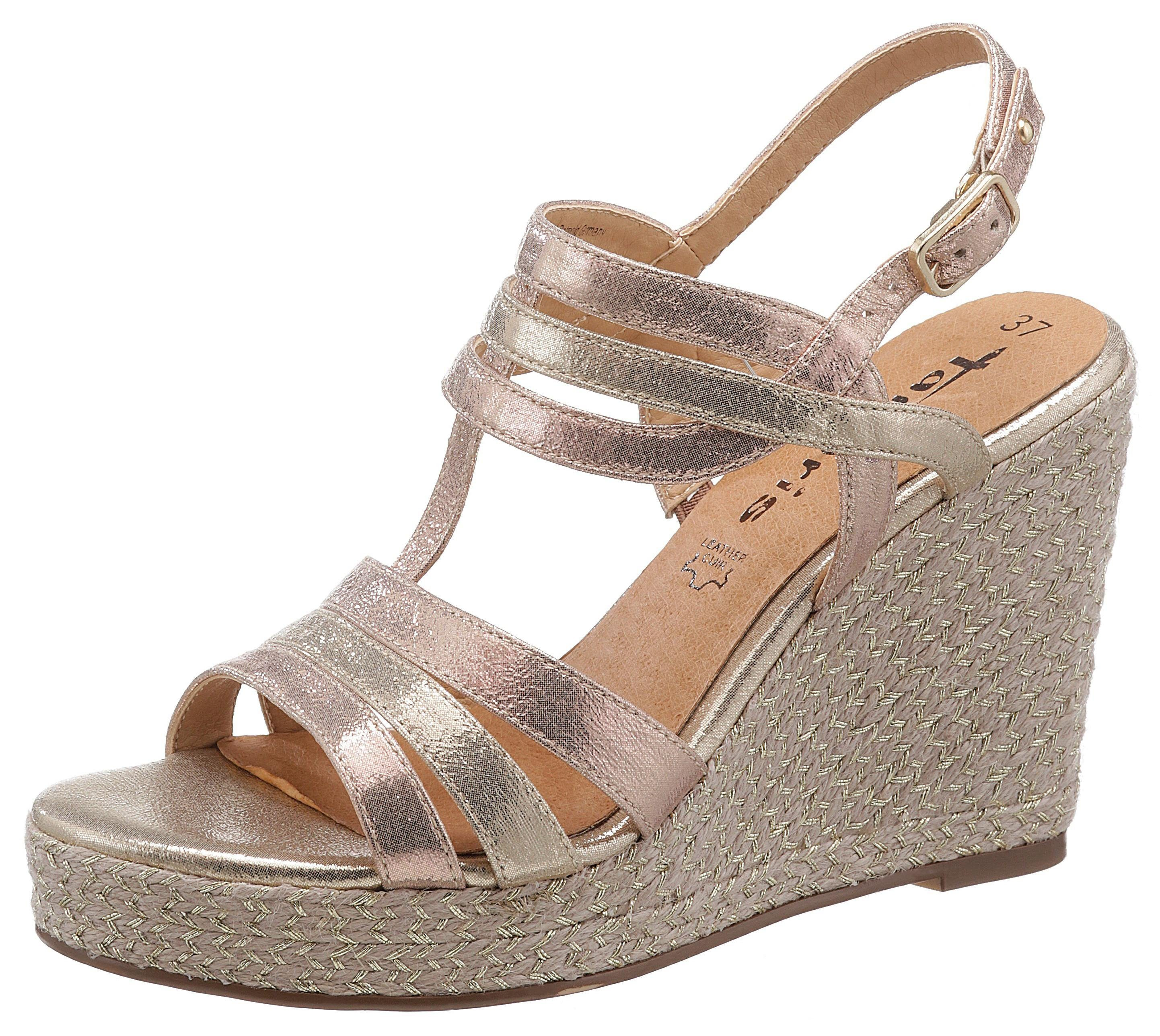 Tamaris »Cynara« Sandalette mit glitzerndem Jute-Bezug