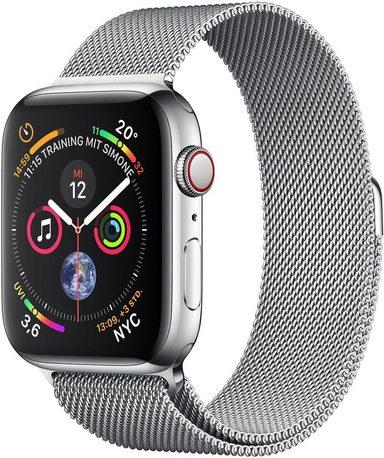 Apple Series 4 GPS + Cellular, Edelstahlgehäuse mit Milanaise Armband 40mm Watch (Watch OS 5)