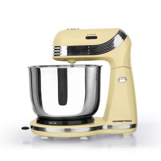 GOURMETmaxx Küchenmaschine Retro vanille mit Edelstahlschüssel, 250 W, 3 l Schüssel