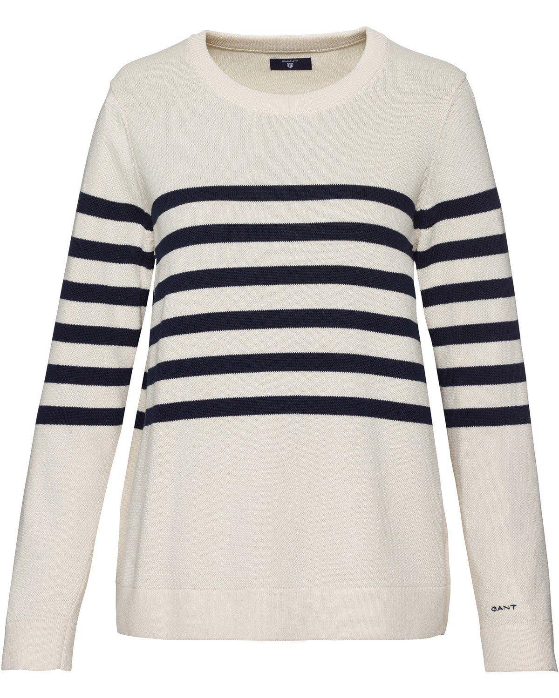 Gant Rundhals-Pullover mit Streifen