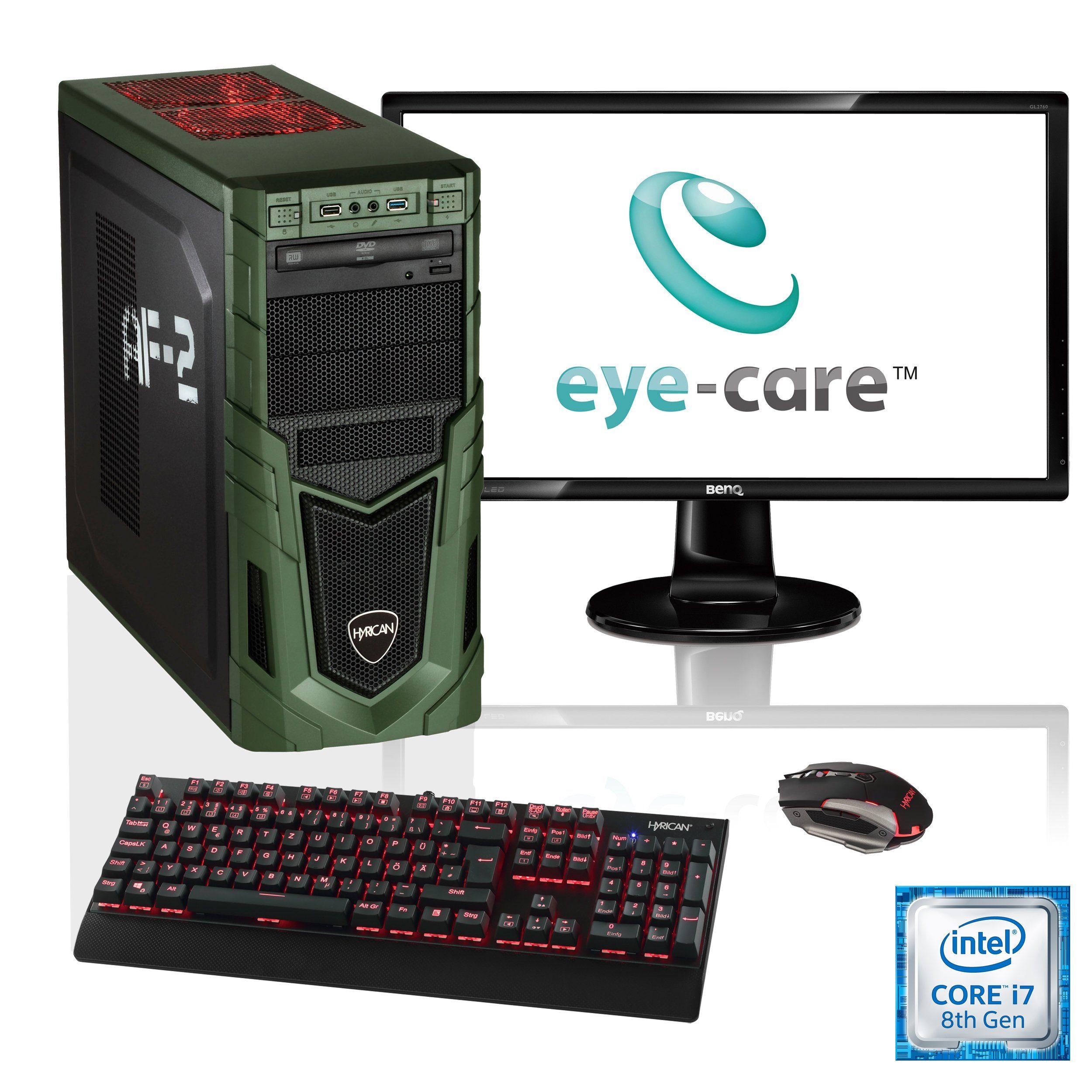 """HYRICAN i7-8700K 16GB SSD + HDD GeForce® GTX 1070Ti + 27"""" Monitor »Military SET1649«"""