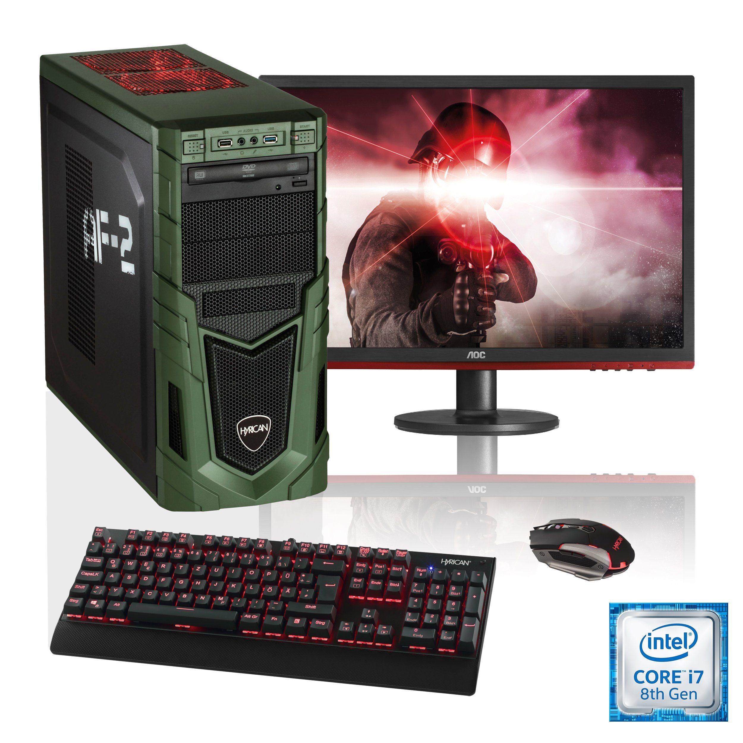 """HYRICAN i7-8700K 16GB SSD + HDD GeForce® GTX 1070Ti + 24"""" Monitor »Military SET1641«"""