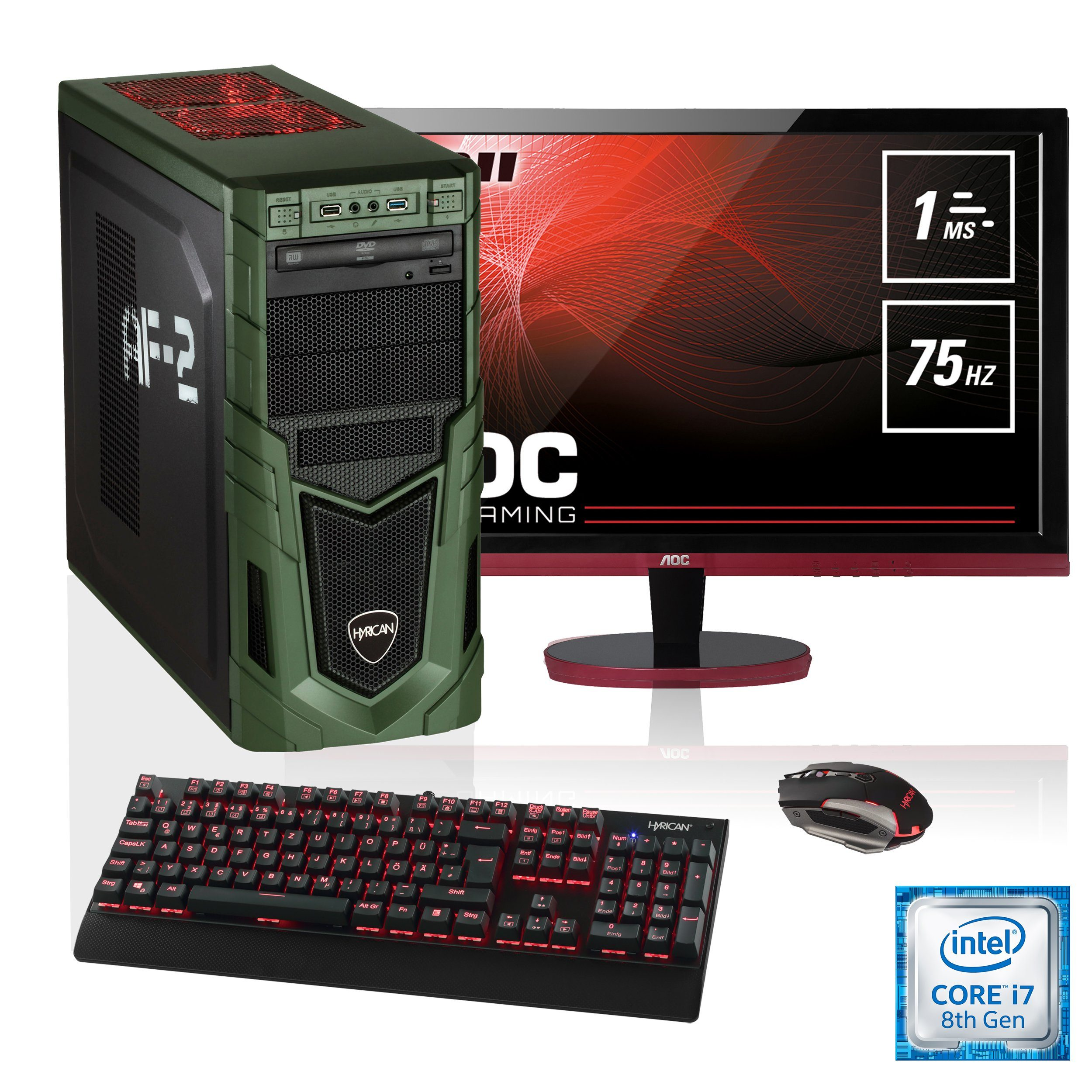 "HYRICAN i7-8700K 16GB SSD + HDD GeForce® GTX 1080 + 27"" Monitor »Military SET1654«"