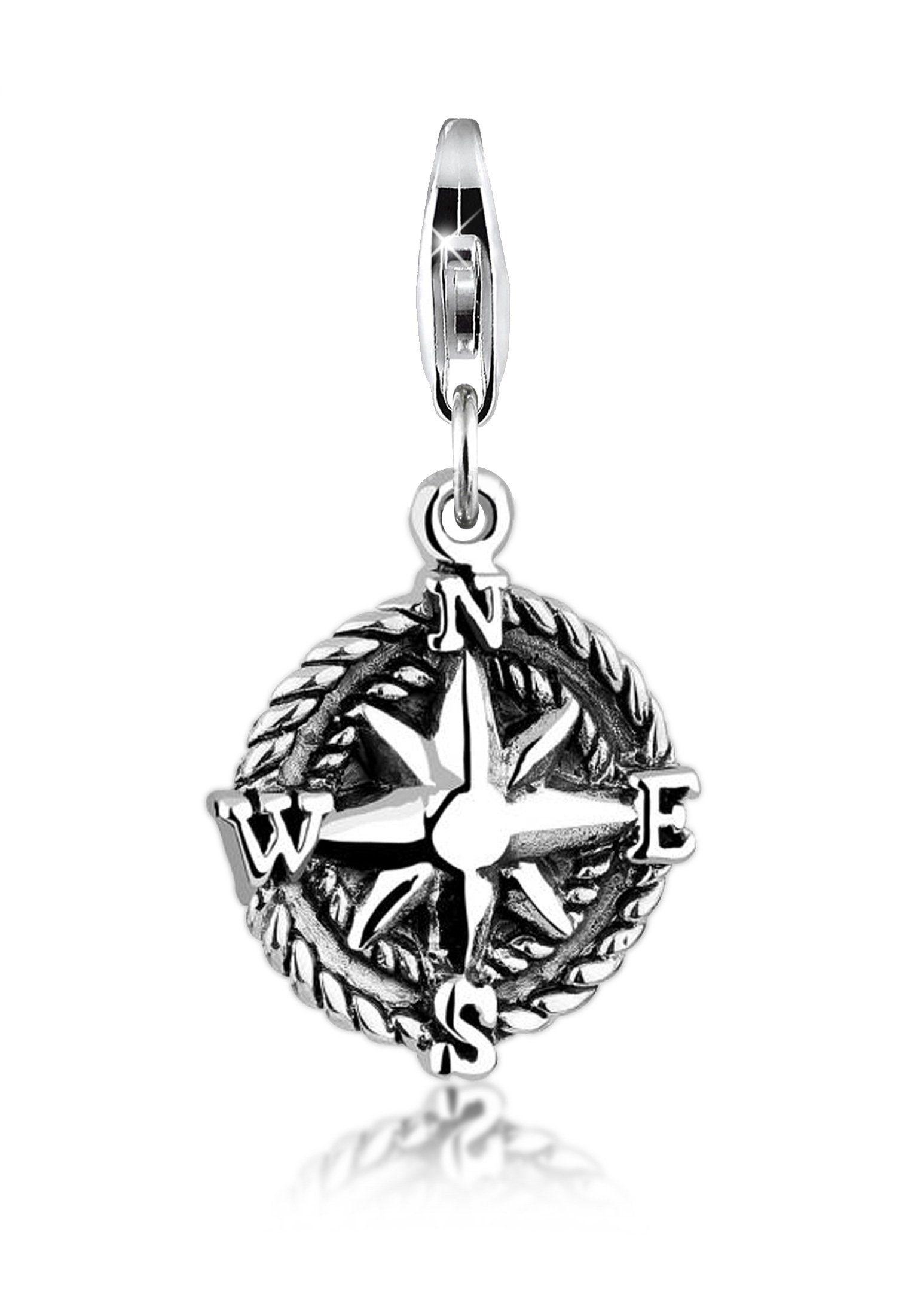 Nenalina Charm-Einhänger »Anhänger Kompass Reise Oxid Windrose 925 Silber«