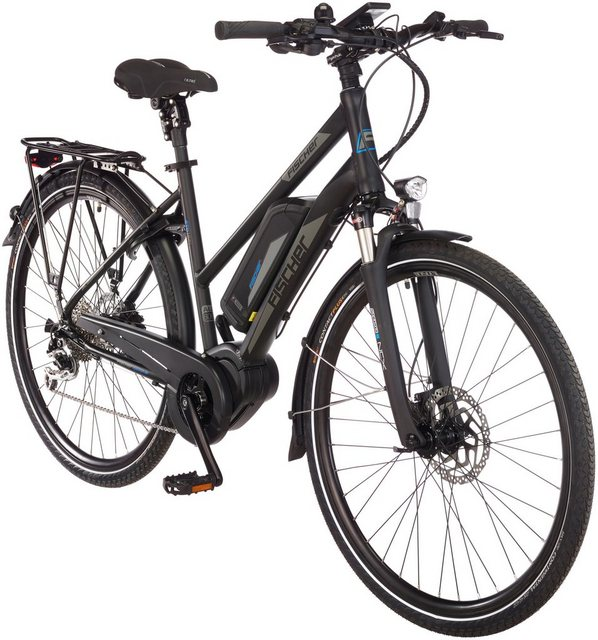 FISCHER FAHRRÄDER E-Bike Trekking Damen »ETD1861.1-Ready RH49«, 28 Zoll, 9 Gänge, Mittelmotor, 557 Wh*