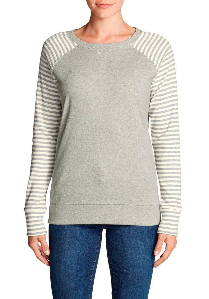 Damen Eddie Bauer  Sweatshirt Legend Wash Sweatshirt mit V-Ausschnitt – Gestreift grau | 04057682337869
