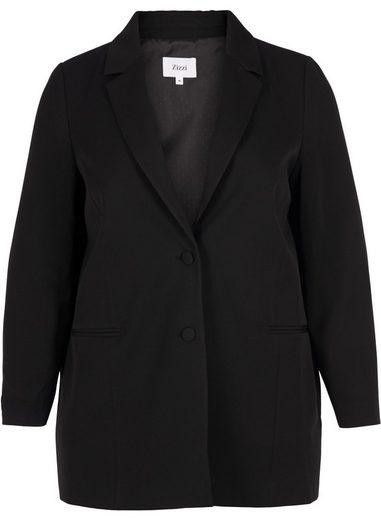 Zizzi Longblazer Damen Langer Blazer mit Schulterpolstern Anzugjacke Große Größen