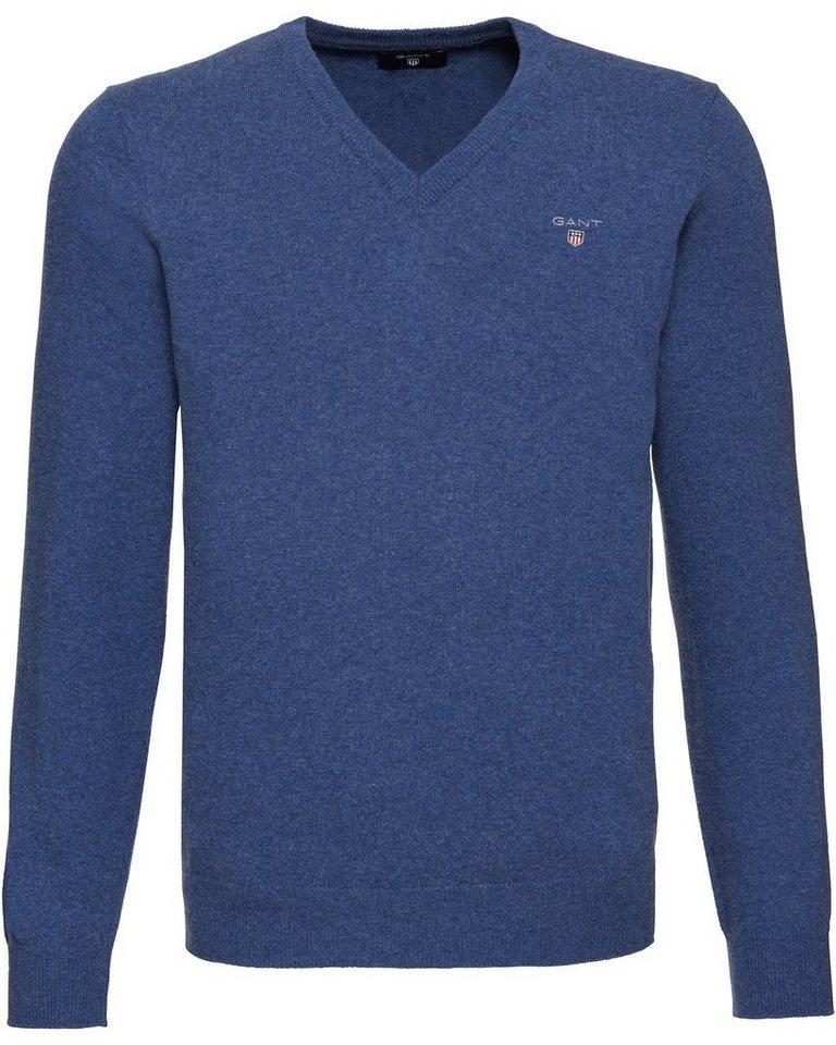 Gant V-Pullover aus Lambswool | Bekleidung > Pullover > V-Pullover | Blau | Schurwolle | Gant