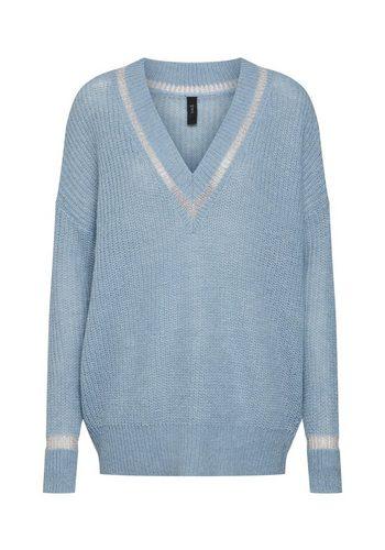 Damen Y.A.S V-Ausschnitt-Pullover blau | 05713750360663