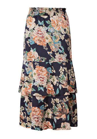 SIENNA Vidutinio ilgio sijonas su gėlėtas raš...