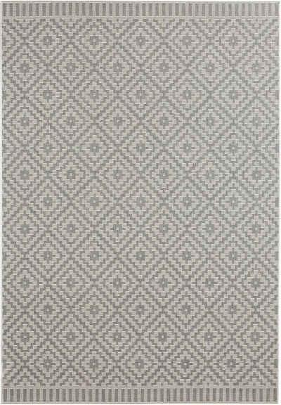 Teppich »Breeze«, freundin Home Collection, rechteckig, Höhe 8 mm, Flachgewebe, In- und Outdoor geeignet, Rauten-Design, Für Terasse und Balkon, Wohnzimmer