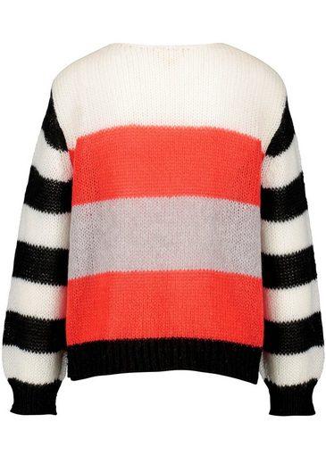 weiß About Streifen Look Colorblocking orangerot Colourblocking Strickpullover Im Talk schwarz 35A4RjL
