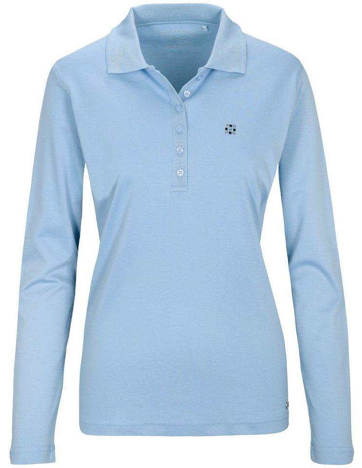 Damen Clarina Poloshirt mit Strass Applikation blau | 04060836646762
