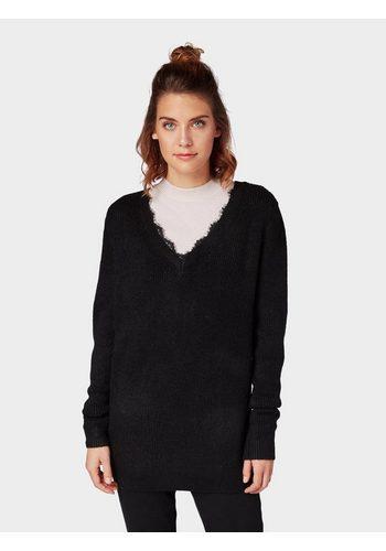Damen Tom Tailor Denim Longpullover Langer Pullover mit Spitzeneinsatz schwarz | 04062105778273