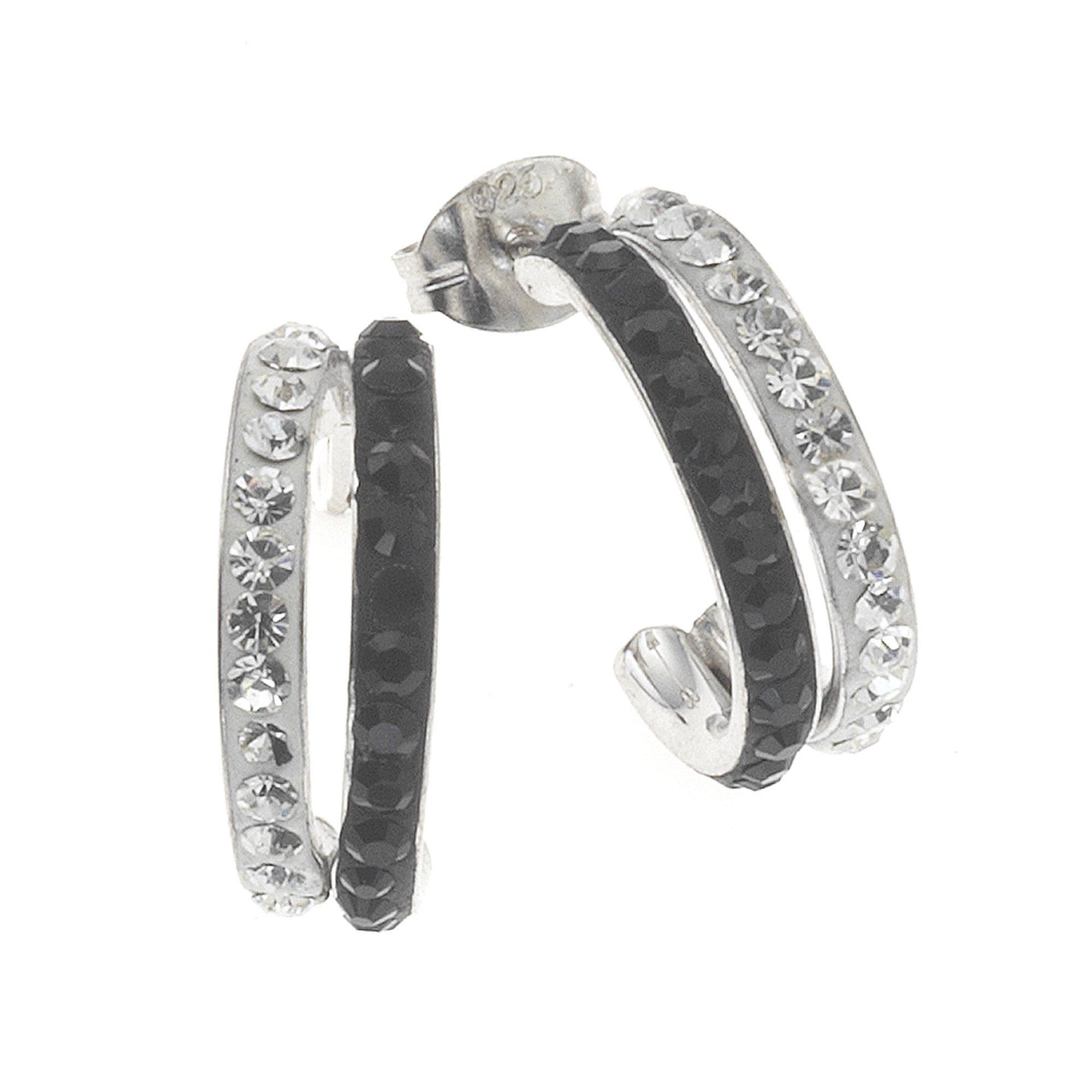 Crystelle Steckcreole »925/- Sterling Silber Swarovski Kristall«