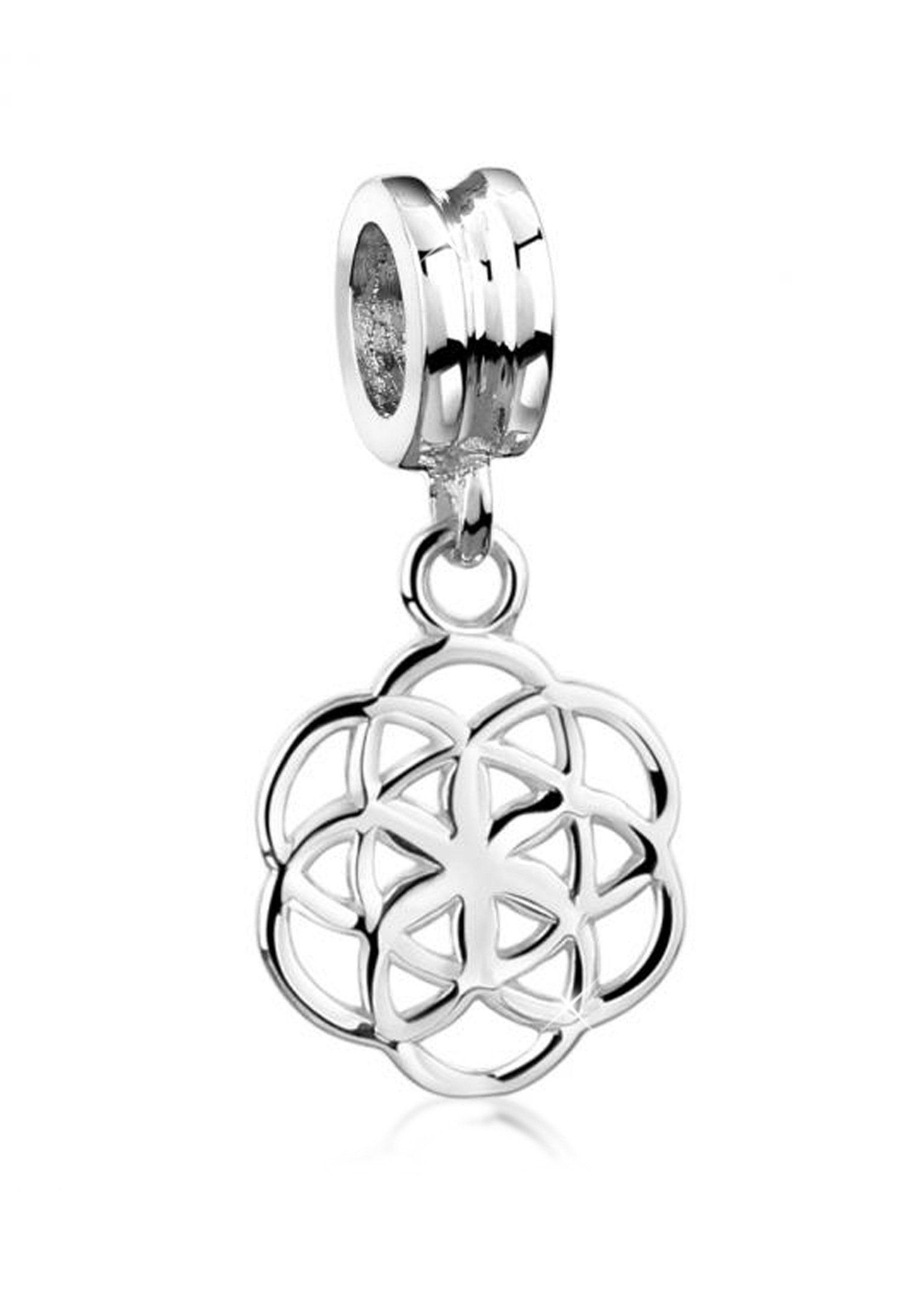 Nenalina Charm-Einhänger »Anhänger Blume des Lebens Bead 925 Sterling Silber«