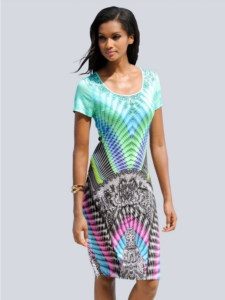 Alba Moda Strandkleid mit grafischen Druck | Bekleidung > Kleider > Strandkleider | Grün | Viskose - Elasthan | Alba Moda
