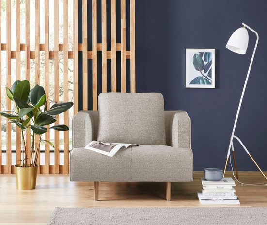 hülsta sofa Sessel »hs.440«, wahlweise in Stoff oder Leder, Fuß Eiche natur