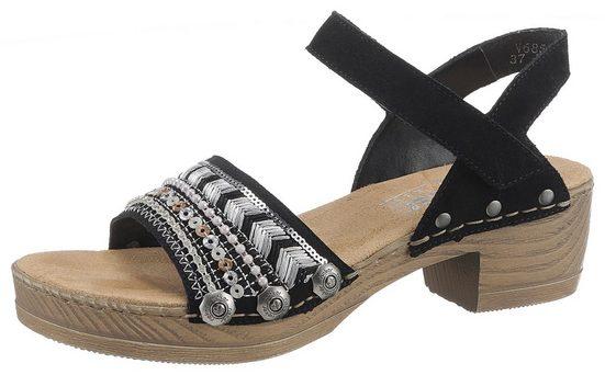 Rieker Sandalette mit Stickerei und Schmucksteine