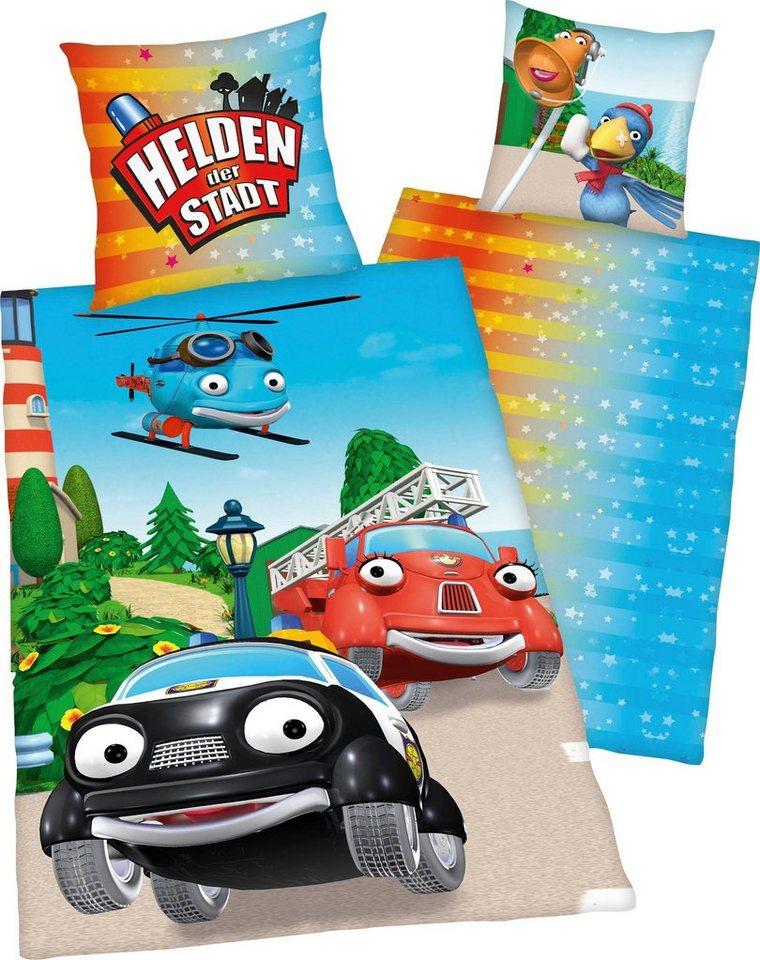 Kinderbettwäsche »Helden der Stadt«, mit coolem Motiv | Kinderzimmer > Textilien für Kinder > Kinderbettwäsche | Blau | Baumwolle | OTTO