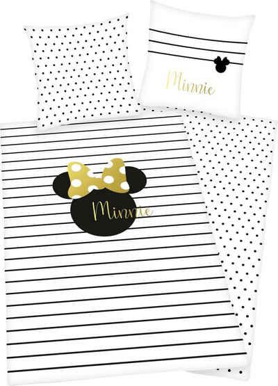 Wendebettwäsche »Minnie Mouse«, Walt Disney, mit hochwertigem Golddruck