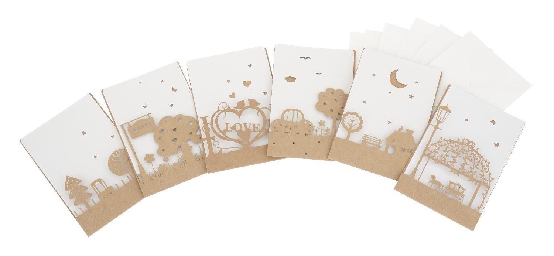 """VBS Kraftpapier Motivkarten """"Romantic"""" 6er-Set"""
