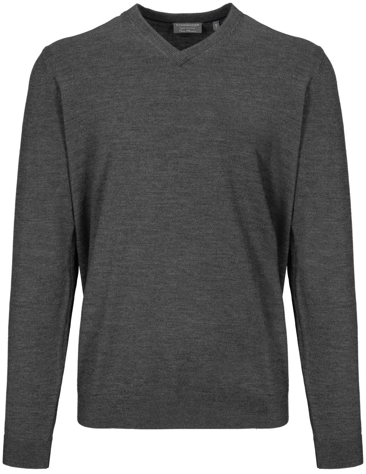 COMMANDER V-Ausschnitt-Pullover aus Merinowolle