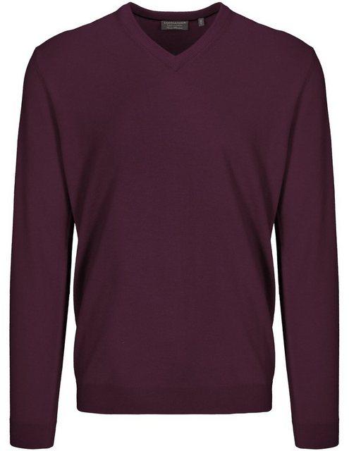 commander -  V-Ausschnitt-Pullover aus Merinowolle