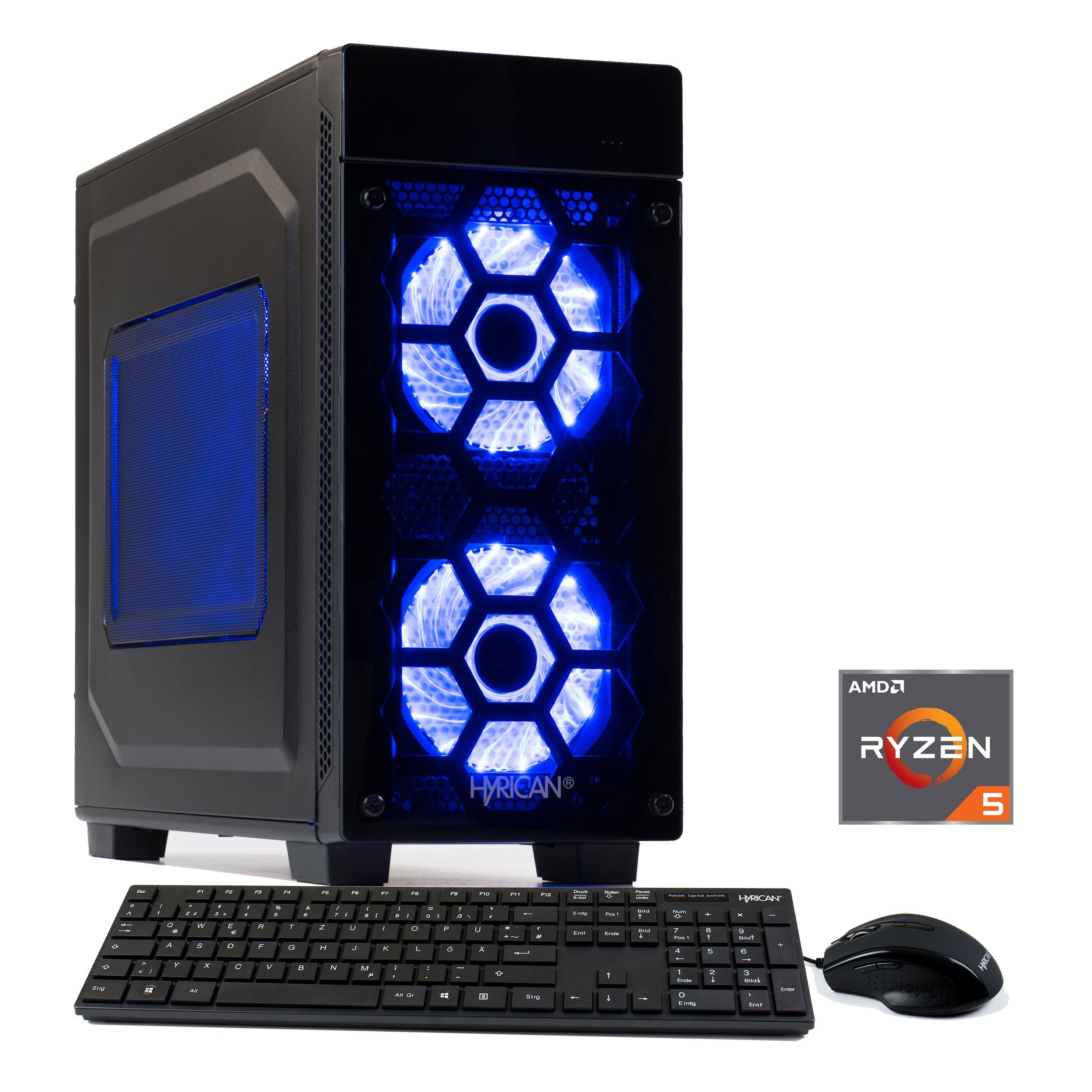 HYRICAN Gaming PC Ryzen? 5 2600, 16GB, SSD + HDD, GeForce® GTX 1080 »Striker 6102«